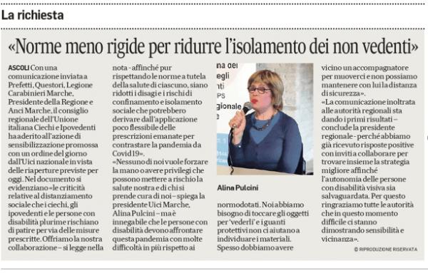 La foto dell'articolo pubblicato dal Corriere Adriatico