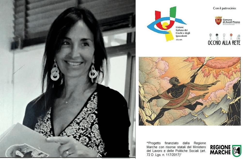 L'assessore alla Cultura del Comune di Ascoli Piceno, Donatella Ferretti, in un bel primo piano ci sorride mentre tiene in mano un libro. Indossa un golfino nero su un abito a fiori bianchi e neri.
