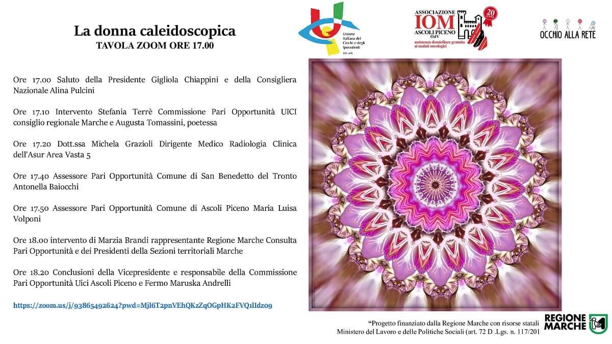 La locandina dell'evento: a sinistra il programma degli interventi, a destra un caleidoscopio di colori, sul tema del rosa