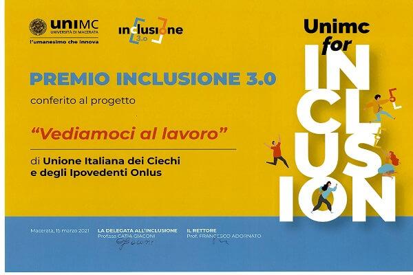 La locandina con il Premio Inclusione 3.0 assegnato dall'università di Macerata al nostri progetto 'Vediamoci al lavoro'